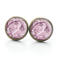 Druckknopf Ohrstecker Ohrhänger zartes Blumenmotiv rosa rosarot