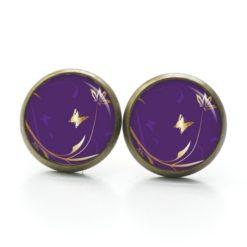 Druckknopf Ohrstecker Ohrhänger goldener Schmetterling auf violett