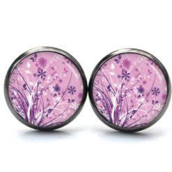 Druckknopf Ohrstecker Ohrhänger Blumenwiese rosa weiß violett