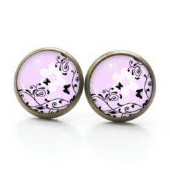 Druckknopf Ohrstecker Ohrhänger schwarze Schmetterling auf rosa