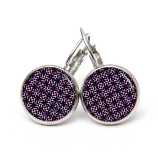 Druckknopf Ohrstecker Ohrhänger 60er Jahre Retro Muster violett pink