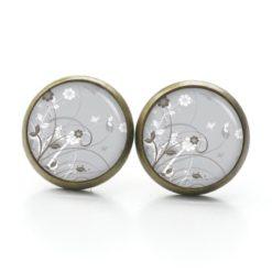 Druckknopf Ohrstecker Ohrhänger zarte Blumenwiese in grau und weiß