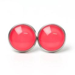 Druckknopf Ohrstecker Ohrhänger handbemalt knallig pink rosa