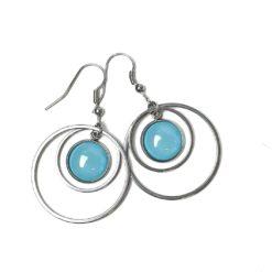 Edelstahl Ohrringe mit farbigen Perlen - Farbwahl