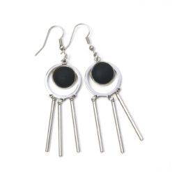 Verspielte Edelstahl Ohrringe mit matten Polaris Perlen - Farbwahl