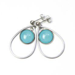 Elegante Edelstahl Ohrringe mit farbigen Perlen - Farbwahl