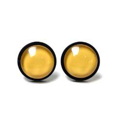 Schwarze Edelstahl Ohrstecker mit farbigen Perlen - Farbwahl