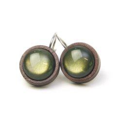 Edelstahl Ohrringe aus Holz mit schimmernden Polaris Perlen - Farbwahl