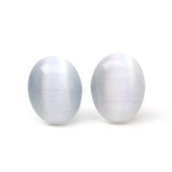 Tolle ovale Cateye Ohrstecker in weiß grau - Edelstahl