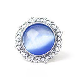 Großer Vintage Cateye Ring in blau