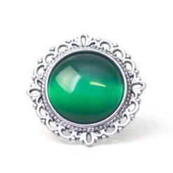 Großer Vintage Cateye Ring in smaragd grün