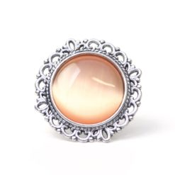 Großer Vintage Cateye Ring in apricot