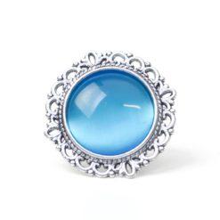 Großer Vintage Cateye Ring in himmelblau