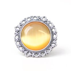 Großer Vintage Cateye Ring in sonnengelb