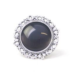 Großer Vintage Cateye Ring in schwarz