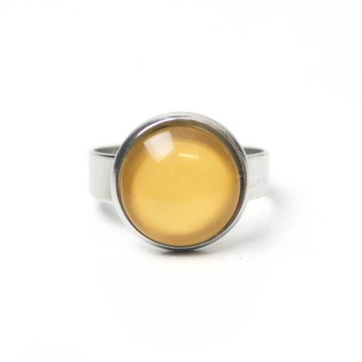Edelstahl Ring handbemalt in sonnengelb gelb - verschiedene Größen