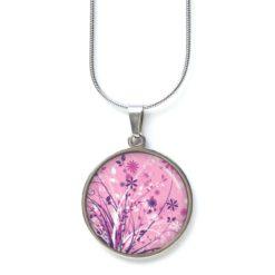 Edelstahl Kette Floral mit wilder rosa weißen lila Blumenwiese
