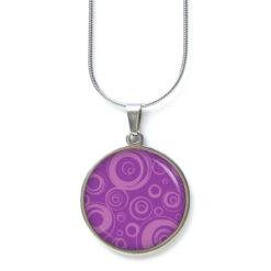 Edelstahl Kette 60er Jahre wild gemustert mit Kreisen rosa violett