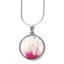 Druckknopf Ohrstecker Ohrhänger verträumte Blumen Wiese rosarot weiß