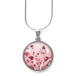 Druckknopf Ohrstecker Ohrhänger mit zart rot rosa Blumen Wiesen Motiv