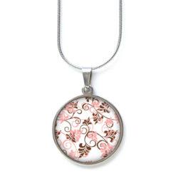 Edelstahl Kette mit zart rosa braunem Blumenmuster 60er Jahre