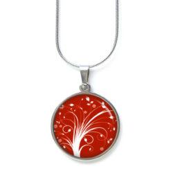 Druckknopf Ohrstecker Ohrhänger rot weißes Feuerwerk Baum Blumen