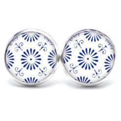 Edelstahl Kette Muster Mandala Mosaik in blau weiß