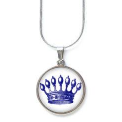 Druckknopf Ohrstecker Ohrhänger blaue dunkelblaue Krone Prinzessin
