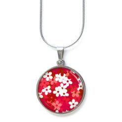 Druckknopf Ohrstecker Ohrhänger weiß rotes Blumen Meer