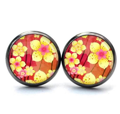Druckknopf Ohrstecker Ohrhänger kleine japanische Blumen gelb rot