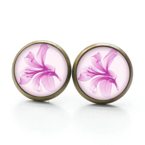 Druckknopf Ohrstecker Ohrhänger Clipse Lilien in rosa rosarot