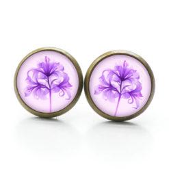 Druckknopf Ohrstecker Ohrhänger Clipse Lilien in lila violett