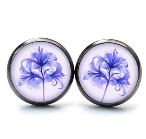 Druckknopf Ohrstecker Ohrhänger Clipse Lilie in blauviolett