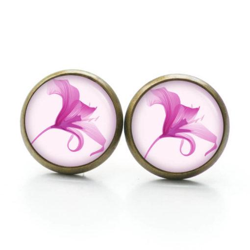 Druckknopf Ohrstecker Ohrhänger Clipse Lilie Lilien in rosa rosarot