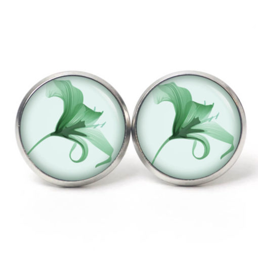Druckknopf Ohrstecker Ohrhänger Clipse Lilie in grün