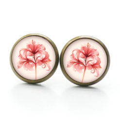Druckknopf Ohrstecker Ohrhänger Clipse Lilie Lilien in rot beige