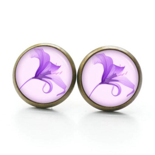 Druckknopf Ohrstecker Ohrhänger Clipse Lilie Lilien in lila violett