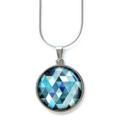 Edelstahl Kette Muster Mandala Mosaik in blau hellblau schwarz