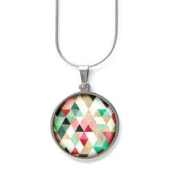 Edelstahl Kette Muster Mandala Mosaik bunt farbenfroh rot grün weiß