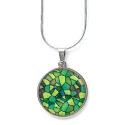 Edelstahl Kette Muster Mandala Mosaik in verschiedenen grün Tönen