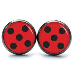 Druckknopf Ohrstecker Ohrhänger Clipse rot schwarze Punkte Marienkäfer Ladybug