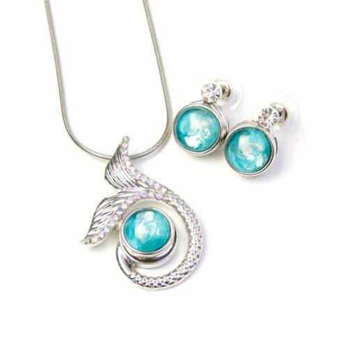 Druckknopf Set kleiner Anhänger Meerjungfrau mit Kette und Ohrringe - Farbwahl