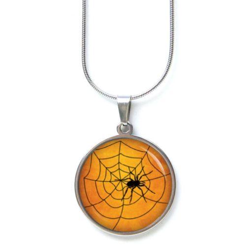 Edelstahl Kette Halloween Spinne Spinnennetz orange schwarz