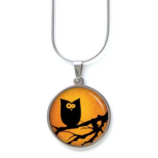 Edelstahl Kette Halloween verrückte Eule orange schwarz