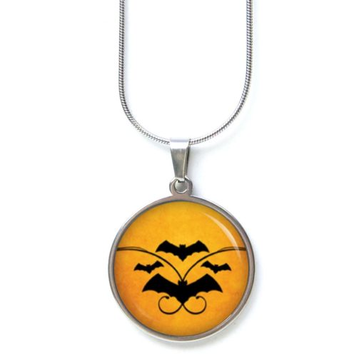 Edelstahl Kette Halloween Fledermäuse Fledermaus orange schwarz