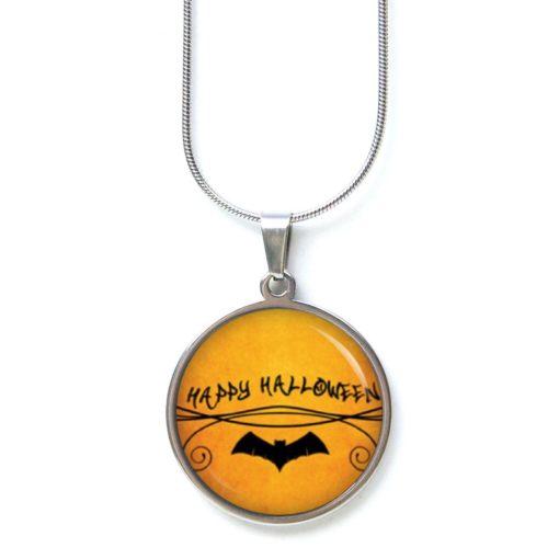 Edelstahl Kette Happy Halloween Fledermaus orange schwarz
