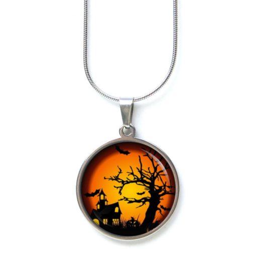 Edelstahl Kette Halloween grusel Haus orange schwarz