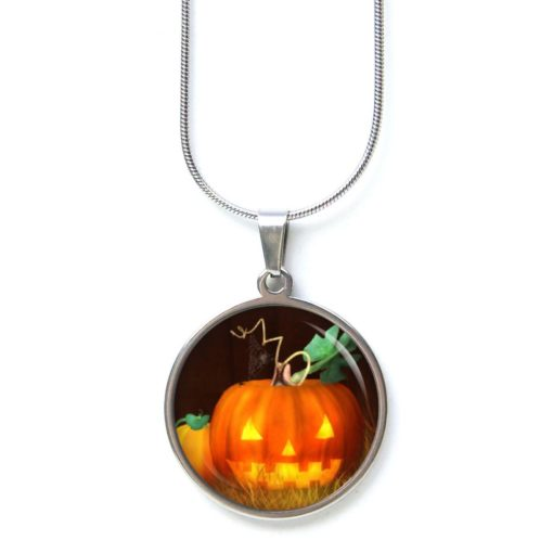 Edelstahl Kette Halloween grusel Kürbis orange schwarz