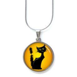 Edelstahl Kette Halloween grusel Katze orange schwarz