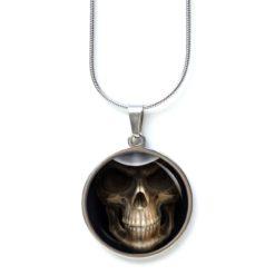 Edelstahl Kette Halloween grusel Totenkopf schwarz grau